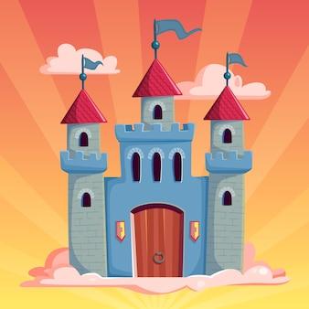 Niewyobrażalny bajkowy zamek i słońce