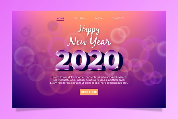 Niewyraźna strona docelowa nowego roku