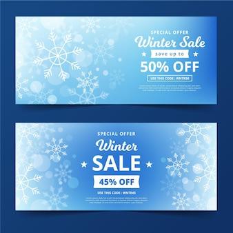 Niewyraźne banery sprzedaży zimowej