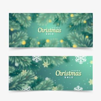 Niewyraźne banery świąteczne sprzedaż