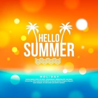 Niewyraźne ilustracja z napisem witaj lato