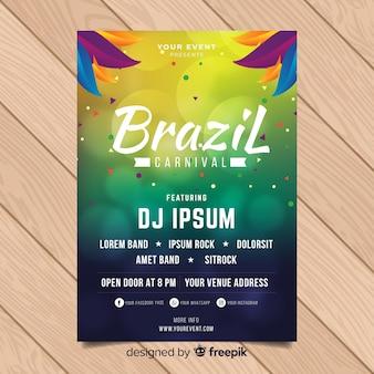 Niewyraźne koła brazylijski karnawał party plakat
