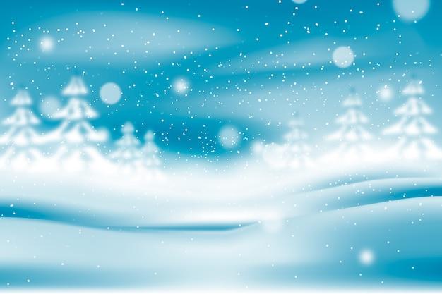 Niewyraźne realistyczne opady śniegu i białe drzewa