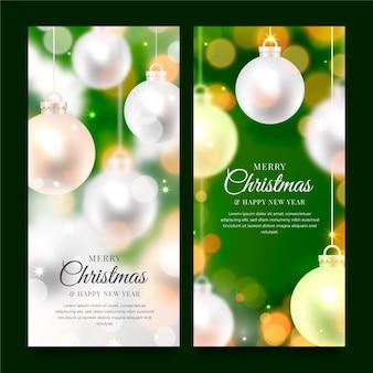Niewyraźne świąteczne banery szablon