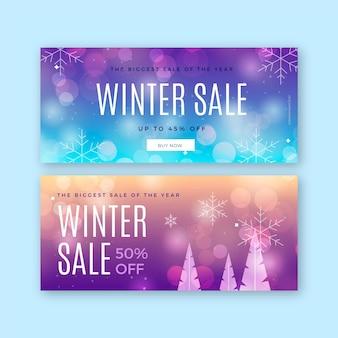 Niewyraźne szablon banery sprzedaży zimowej