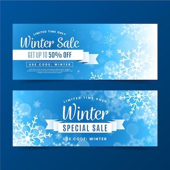 Niewyraźne szablon transparent sprzedaży zimowej