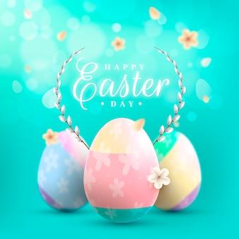 Niewyraźne wielkanoc z kolorowymi wiosną jaj