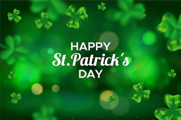 Niewyraźne zielone koniczyny happy st. dzień patryka