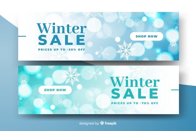 Niewyraźne zimowe sprzedaż banery szablon