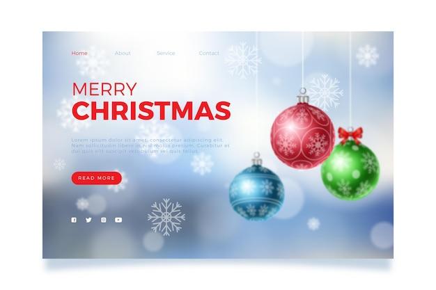 Niewyraźny świąteczny szablon strony docelowej