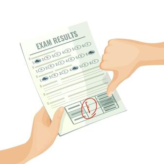 Niezadowalające wyniki egzaminu na papierze w ludzkich rękach. ocena na test uniwersytecki lub szkolny z izolowanym mieszkaniem kreskówkowym złej oceny.