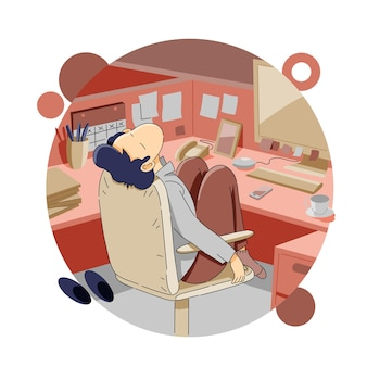 Niezadowolony lub znudzony w pracy