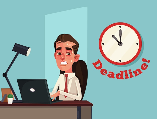 Niezadowolony pracowity smutny pracownik biurowy biznesmen postać. ostateczny termin. ilustracja kreskówka płaska