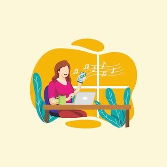 Niezależna kobieta cieszyła się swoim życiem, rysując kreskówka wektor maskotka logo