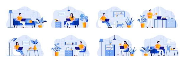 Niezależne sceny łączą się z postaciami ludzi. freelancer pracuje z laptopem w wygodnych warunkach w domowych biurach. praca na odległość, samozatrudniony zawód płaska ilustracja.