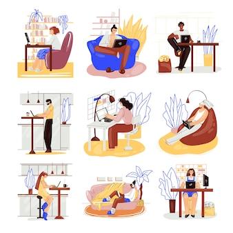 Niezależni ludzie pracują w wygodnym, przytulnym miejscu ustawiają płaską ilustrację. freelancer wielorasowy, pracujący w domu w spokojnym tempie. koncepcja samozatrudnienia mężczyzna i kobieta.