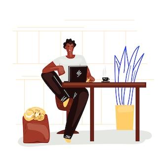 Niezależny mężczyzna pracuje w wygodnym wygodnym ministerstwie spraw wewnętrznych w kuchennej płaskiej ilustraci. freelancer człowiek charakter pracy z domu w spokojnym tempie, koncepcja samozatrudnienia