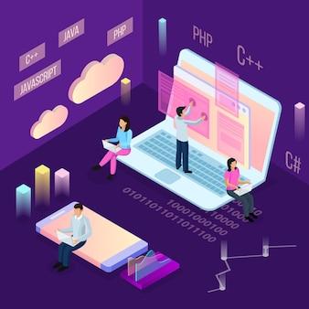 Niezależny programista kompozycji izometrycznej z ludźmi i konceptualnymi ikonami chmury obliczeniowej z obrazami finansowymi i postaciami ludzkimi