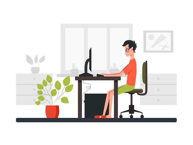 Niezależny programista patrzący na monitor i piszący na klawiaturze. widok z boku. ilustracja kreskówka wektor kolor. do komunikacji online i wirtualnych spotkań roboczych. zostań w domu.