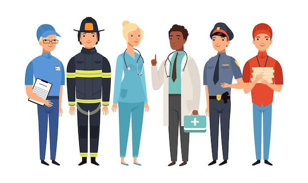 Niezbędni pracownicy. izolowana grupa frontlinerów, ludzie pracujący nad pandemią wirusów. lekarz policjant strażak listonosz dostawa chłopiec wektor zestaw