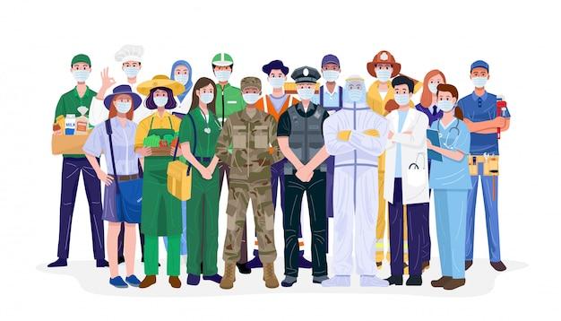 Niezbędni pracownicy, ludzie z różnych zawodów noszący maski na twarz.