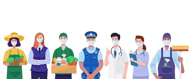 Niezbędni pracownicy, różne zawody ludzie noszący maski na twarz.