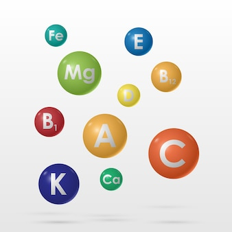 Niezbędny kompleks witamin i minerałów, medycyna i zdrowie, ilustracja wektorowa