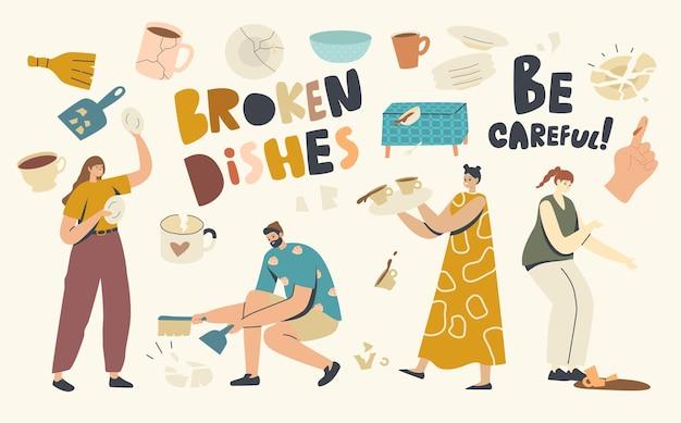 Niezdarne postacie męskie i żeńskie łamią naczynia. mężczyźni i kobiety łamiący talerze, kowalstwo z małymi kawałkami rozrzucone wokół. niezdarność, wypadek z porcelaną. ilustracja wektorowa kreskówka ludzie