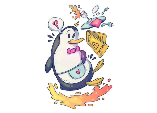 Niezdarny kelner-pingwin. ilustracja kreatywnych kreskówek.