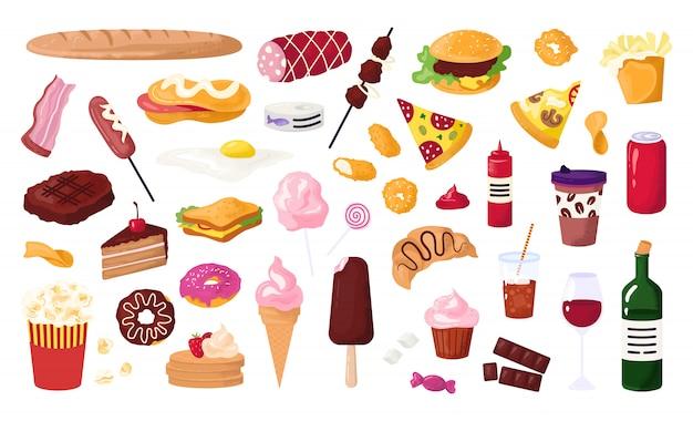 Niezdrowe jedzenie dla ulicznej kawiarni, ikony fast food z hamburgerem, kiełbasą, kanapką, frytkami i pączkiem, sodą, ilustracją pizzy. niezdrowe przekąski.