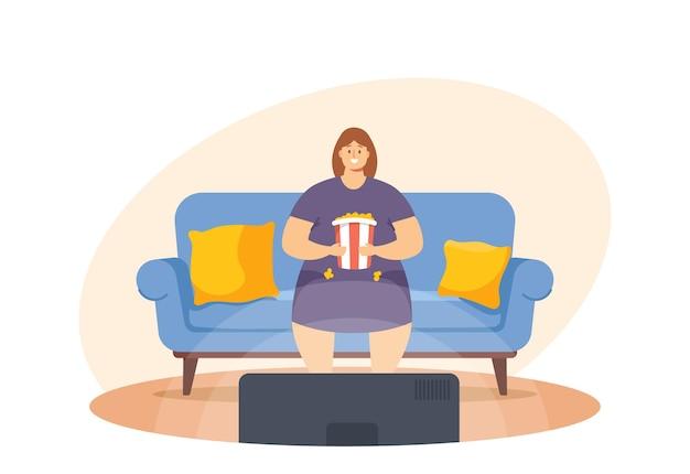 Niezdrowe odżywianie, koncepcja złych nawyków. gruba leniwa kobieta siedzi na kanapie w domu z fast foodem oglądając telewizję. uzależnienie od fastfoodów, kobiece lenistwo, degradacja, otyłość. ilustracja kreskówka wektor