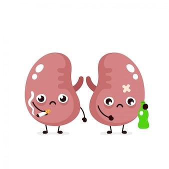 Niezdrowe, smutne chore nerki z butelką alkoholu i papierosa.