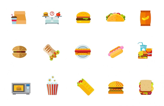 Niezdrowe zestaw ikon żywności