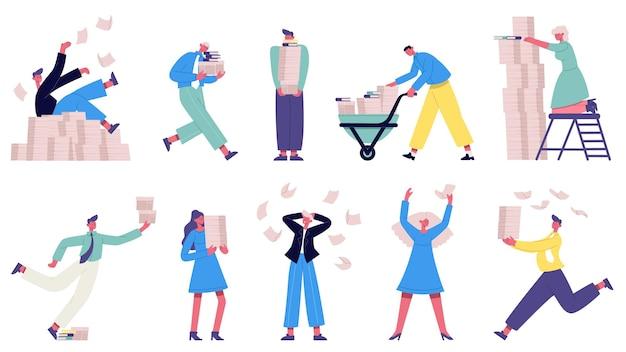 Niezorganizowani ludzie biznesu. chaotyczni pracownicy biurowi, papierkowa robota, podkreślający zestaw ilustracji biurowych