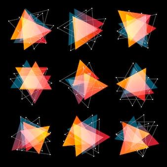 Niezwykłe abstrakcyjne kształty geometryczne logo zestaw. trójkątna kolorowa kolekcja