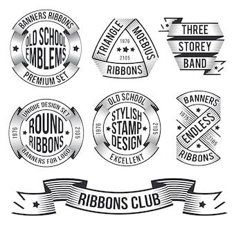 Niezwykłe zabytkowe banery w stylu grawerowania lub pieczęci na emblematy. niekończące się, okrągłe, łukowate wstążki na logo.