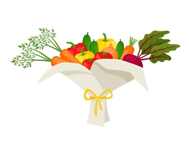 Niezwykły bukiet warzyw na białym tle. ilustracja wektorowa z oryginalnymi prezentami używanymi do magazynu, kawiarni, naklejek.