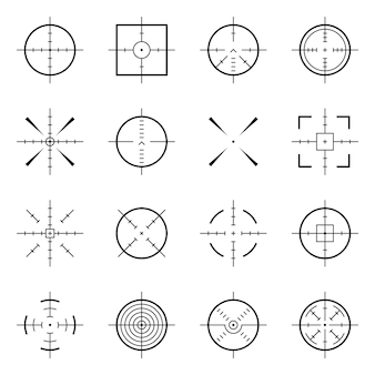 Niezwykły bullseye, dokładne symbole ostrości. cele precyzyjne, ikony wektorowe celu strzelca