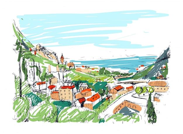 Niezwykły gruziński szkic krajobrazu. kolorowa ręka rysująca kontur ilustracja.