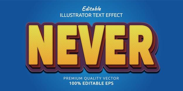 Nigdy nie edytowalny efekt stylu tekstu