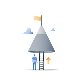 Nigdy nie rezygnuj z koncepcji, szczyt góry, osiągaj wyższy cel, realizuj wyzwanie, poziom następnego kroku, długa droga do sukcesu, pozytywne myślenie, nastawienie na rozwój, pokonywanie przeszkód, stały postęp