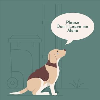 Nigdy nie zostawiaj swojego zwierzaka za ilustracją koncepcji z psem