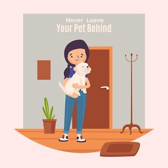 Nigdy nie zostawiaj swojego zwierzaka za ilustracją koncepcji