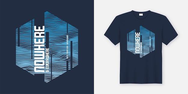 Nigdzie i wszędzie abstrakcyjny modny projekt t-shirtów i odzieży