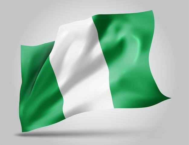 Nigeria, wektor flaga z falami i zakrętami macha na wietrze na białym tle.
