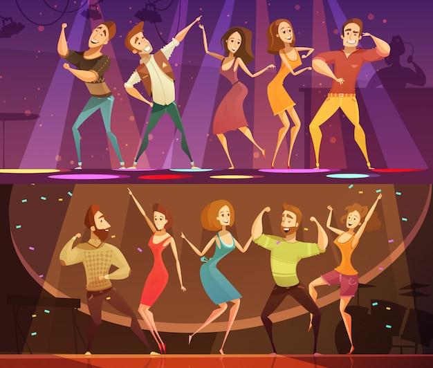 Night club disco party ruch swobodny nowoczesny taniec 2 transparenty świąteczne kreskówki poziomej ustawione na białym tle