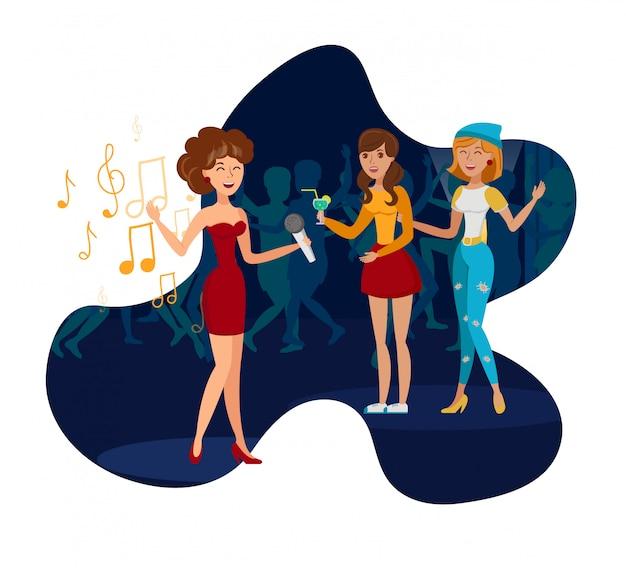 Night club party, ilustracja wektorowa płaski koncert
