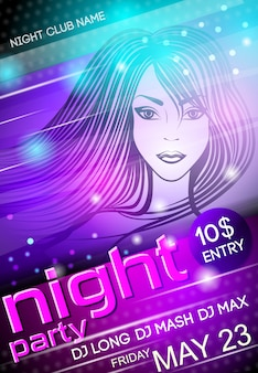 Night party sexy girl plakat szablon