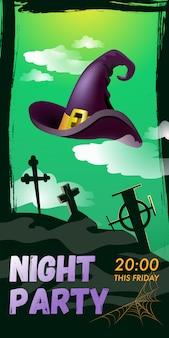 Night party w ten piątek napis. kapelusz czarownicy nad cmentarzem