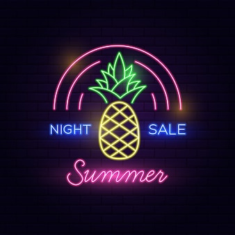 Night sale summer neon text